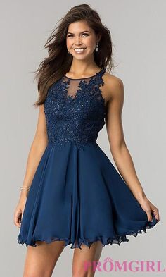 lace homecoming dresses Ready for the dance floor, this beautiful short homecoming dress has lots of sparkle and billowing chiffon. The high-neck illusion bodice has shimmering Cute Formal Dresses, Winter Formal Dresses, Hoco Dresses, Pretty Dresses, Homecoming Dresses, Semi Dresses, Elegant Dresses, Semi Formal Dresses For Teens, Tween Party Dresses