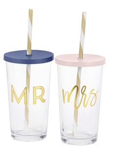 Tumblers with Straws by C. Glass with gold decal. Hand wash only. Gift box with acetate lid. Set of capacity. 5 H x 2 diameter. Cup With Straw, Tumbler With Straw, 4 H, Straws, Hand Washing, Tumblers, Decal, Bridal Shower, Favors
