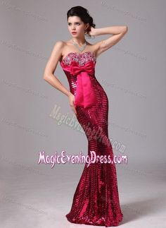 Hot Pink Mermaid Paillette Over Skirt Evening Dresses with Bow in Hartford USA