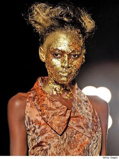 oh Vivienne Westwood....of course you would gold leaf a face