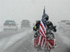 """PGR riding to honor and show respect for a deceased Veteran. It's called """"Riding With a Purpose."""" I know of no two all-volunteer Biker groups more dedicated in their mission rides regardless of day, time or weather than the PGR (Patriot Guard Riders) and BACA (Bikers Against Child Abuse). If they say they will be there, they WILL be there and ON their bikes!"""