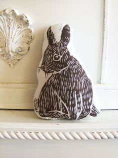 woodblock printed plush bunny pillow ++ laura frisk