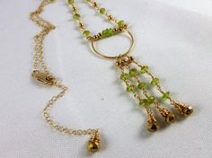 Peridot Gold filled chain necklace August by IgnisDesignStudio