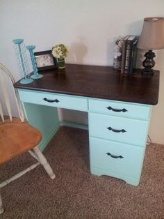 Painted desk with finished top.