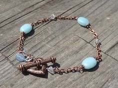 Copper Heart Amazonite Crystal Bead Chain Bracelet by LuvAlisa, $15.00