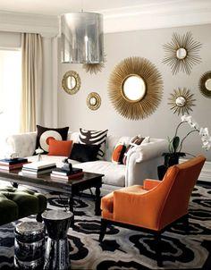 Оранжевый цвет в интерьере #гостиная #зеркало #оранжевый #серый Ещё фото ...