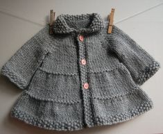 Baby Knitting Patterns Coat Baby and Toddler Tiered Coat and jacket - pattern: knitting. Knitting For Kids, Free Knitting, Start Knitting, Knitting Needles, Baby Patterns, Knit Patterns, Sweater Patterns, Baby Knitting Patterns Free Newborn, Doll Patterns