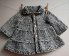 Baby Knitting Patterns Coat Baby and Toddler Tiered Coat and jacket - pattern: knitting. Knitting For Kids, Free Knitting, Start Knitting, Knitting Needles, Baby Patterns, Knit Patterns, Sweater Patterns, Baby Knitting Patterns Free Newborn, Baby Sweater Knitting Pattern