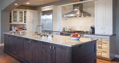 Custom Kitchen Cabinets Edmonton, two tone cabinets, large island simple backsplash