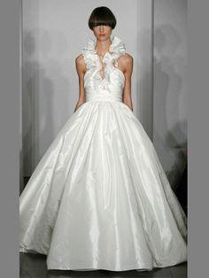 Amazing Taffeta Halter Ball Gown Wedding Dress