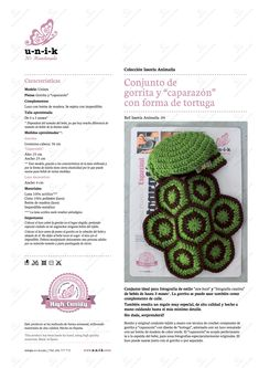 """Conjunto de gorrito y """"caparazón"""" para bebé con forma de """"tortuga"""" tejido a crochet. Ref: Issoria Animalia .04"""