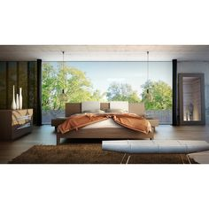 """The Monroe platform bed is perfect for creating a look of Zen in your bedroom retreat. Both sleek and warm, the Monroe features an extended wood-finished headboard overlapping two """"floating"""" single-dr"""