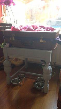 Oude stoel + oude koffer = kattenmand