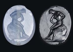 A GREEK BLUE CHALCEDONY SCARABOID   CLASSICAL PERIOD, CIRCA 4TH CENTURY B.C.   Engraved with a nude woman seated upon her mantle draped over a rock, her legs crossed at the calves, her head lowered in concentration, her hands attending to her pubic area, her long tresses with wavy strands falling onto each shoulder  1 in. (2.5 cm.) long