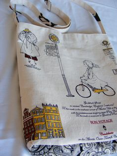 Unique and Charming Girl Traveling on Bike  Large linen and Cotton messenger bag. $68.00, via Etsy.