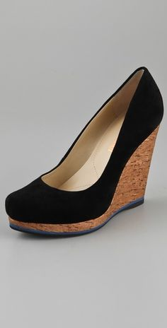 Cork suede wedges