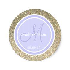 Gold Glitter and Periwinkle Wedding Monogram Classic Round Sticker