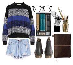 """""""Grunge Art"""" by emc1397 ❤ liked on Polyvore featuring STELLA McCARTNEY, Dr. Martens, Aesop, Oliver Peoples, Summer, shorts, grunge, art and edgy"""