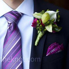 Purple tie + purple, green, burgundy boutonniere