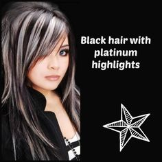 Black hair with Platinum Highlights Hair Colour Inspiration ♡ Rock your Locks