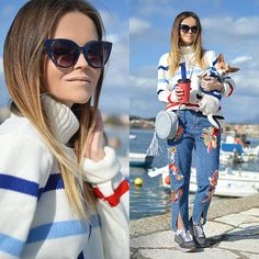 Get this look: http://lb.nu/look/8572011  More looks by Tamara Bellis: http://lb.nu/tamarabellis  Items in this look:  Sammydress Sweater, Sammydress Jeans, Sammydress Bag, Pull & Bear Sneakers, Zaful Sunglasses   #casual #chic #street