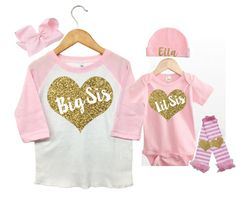 Big Sister Little Sister Outfits, Pink and Gold BIg Sister Little Sister Set, Big Sister Raglan Shirt, Matching Big Sister Little SIster Set This sweet little Big Sister Little Sister Set can be purchased together or as a seperate Raglan Big Sister Shirt or Pink Little Sister