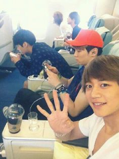 My friends and me on the plane to Malaysia!!! (Taken by Me)