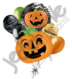 7 pc Swirl Top JackOLantern Balloon Bouquet Party Decoration Happy Halloween * You can get additional details at the image link.
