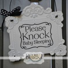 Please Knock #Baby Sleeping vinyl lettering wall decal front #doorsign