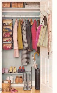 Organize Hall Closet. This is exactly how we use our hall closet.  NEED shoe stand to go with show hangers. NEED umbrella Stand. I also like the shelf? Practical and simple.  NEED racks for over the door for bags and purses.