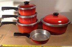 Vtg 9 Piece Cherry Red Club Aluminum Cookware Pan Pots Lids Vintage | eBay