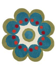 Fantasia Flower Rug in Turquoise