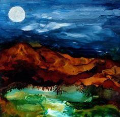 "Saatchi Art Artist: Katherine Smith-Schad; Ink 2013 Painting """"Moonlit Bath"" Limited Edition Print"""