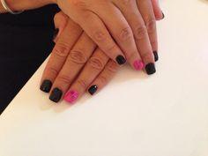 Acrylic short nails with black n pink nail polish :)