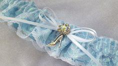 Cinderella Princess Garter Light Blue White Lace Bridal Garter Elegant AB Rhinestone Accent Wedding Garter by Allofyou on Etsy