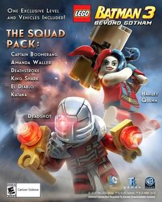 LEGO Batman 3 : Beyond Gotham - The Squad Pack: Deadshot, Harley and Deathstroke? Such a good little pack. Lego Batman 3, Lego Dc, Lego Marvel, Spiderman, Deadshot, Deathstroke, Amanda Waller, King Shark, Captain Boomerang