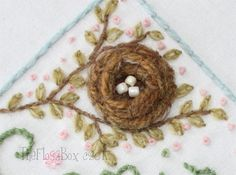 The Floss Box: embroidery journal project - couched coiled nest