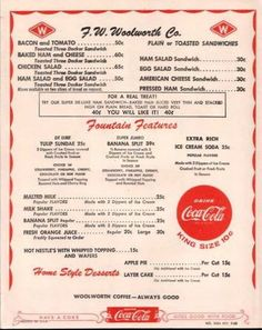 WoolWorth's counter menu...