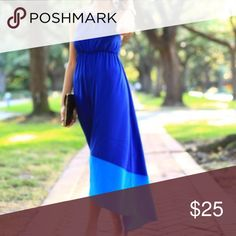 Old Navy Royal Blue Maxi Dress Royal blue maxi dress with block of light blue at the bottom. Lightweight and comfortable! Old Navy Dresses Maxi