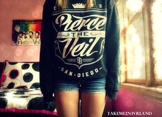 Pierce The Veil Sweater Though ^^ && that poster thingy Band Outfits, Emo Outfits, Cute Outfits, Fashion Outfits, Summer Outfits, Band Merch, Band Shirts, Band Hoodies, Grunge