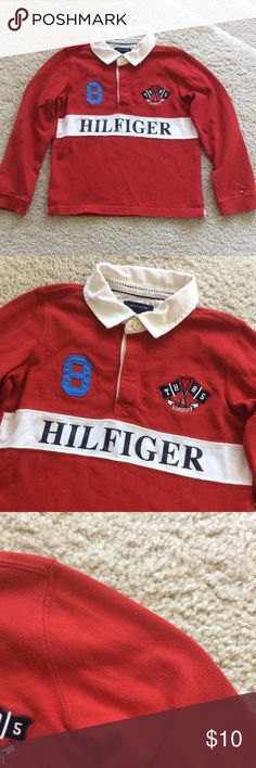 Tommy Hilfiger rugby shirt Tommy Hilfiger rugby shirt. Super cute red color. 100% cotton. Size 4T. Excellent condition. Tommy Hilfiger Shirts & Tops