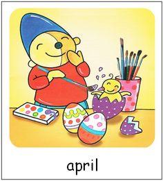 April | Pompom maanden School, Prints, Google, Pom Poms