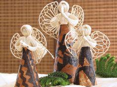 Tongan Tapa Christmas Angel Set from Black Pearl Designs for $22.00