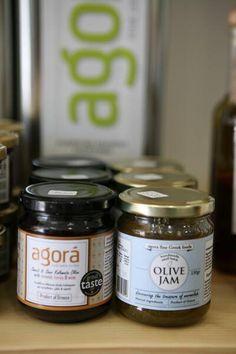 All about olive oil & olives www.agorafinefoods.com  Olive Jam Olives, Olive Oil, Coconut Oil, Mason Jars, Desserts, Food, Deserts, Canning Jars, Dessert
