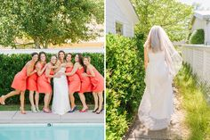 The bride and her bridesmaids at Healdsburg Modern Cottages just before her walk through town on the way to the barn