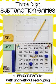 This game is a fun, hands-on activity that engages students as they practice subtracting three digit numbers with and without regrouping. This activity could easily be used in small group instruction, as a supplement to your math curriculum, as a fast finisher activity, or to differentiate your instruction. #elementary #subtraction #mathgames #teaching