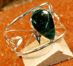 Fashion Green Agate Gemstone Adjustable Cuff Bracelet Vintage Silver Plated  #Unbranded #Cuff