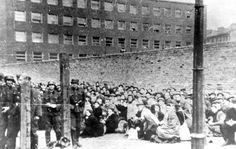 """Warsaw, Poland, Jews gathered in """"Umschlagplatz"""" awaiting deportation, 1943."""