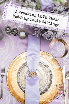 Gorgeous colorful tablescapes set for a wedding, garden party, baby shower or any other special occasion! Get ideas and inspiration! Lilac Wedding Themes, Purple Wedding, Diy Wedding Favors, Handmade Wedding, Wedding Ideas, Table Setting Inspiration, Lesbian Wedding, Wedding Table Settings, Diy Invitations