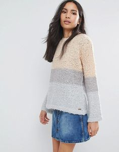 Pepe Jeans Runa Color Block Wool Mohair Blend Knit Sweater - Pink